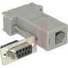 connector,adapter,rj-12 modular jack to9 socket d-sub,1-piece hood,gray -- 70081424