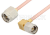 SMA Male to SMA Male Right Angle Cable 18 Inch Length Using RG405 Coax -- PE3822-18 -Image