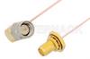 SMA Male Right Angle to SMA Female Bulkhead Cable 12 Inch Length Using PE-034SR Coax, RoHS -- PE34321LF-12 -Image