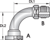S2H – Code 62 Flange JIC Male 90º Tube Bend -- View Larger Image