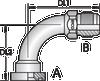 S2 – Code 61 Flange JIC Male 90º Tube Bend