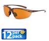 Safety Glasses: ANSI Z87+, copper lens, brown 1/2 frame, 12/pk -- SG-91116-12