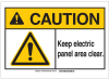 Brady B-401 Plastic Rectangle White Keep Clean Reminder Sign - 14 in Width x 10 in Height - TEXT: CAUTION Keep Electric Panel Area Clear - 144430 -- 754473-98421