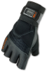 Ergodyne Proflex 910 Black XL Pigskin Leather/Spandex Fingerless Work & General Purpose Gloves - Gel Polymer Palm Only Coating - 720476-17425 -- 720476-17425
