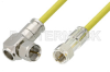 75 Ohm F Male to 75 Ohm F Male Right Angle Cable 36 Inch Length Using 75 Ohm PE-B159-YW Yellow Coax -- PE38137/YW-36 -Image