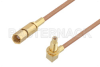 SSMC Plug to SSMC Jack Right Angle Bulkhead Cable 6 Inch Length Using RG178 Coax -- PE3C4459-6 -Image