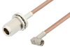N Female Bulkhead to SMA Male Right Angle Cable 60 Inch Length Using PE-P195 Coax -- PE3W06405-60 -Image