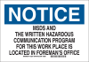 Brady B-555 Aluminum Rectangle White MSDS Sign - 14 in Width x 10 in Height - 40922 -- 754476-40922