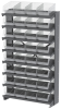 Akro-Mils APRS 400 lb Clear Gray Powder Coated Steel 16 ga Single Sided Fixed Rack - 36 3/4 in Overall Length - 32 Bins - Bins Included - APRS080SC -- APRS080SC - Image