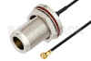 N Female Bulkhead to WMCX 1.6 Plug Cable 12 Inch Length Using 0.81mm Coax, RoHS -- PE3CA1014-12 -Image