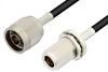 N Male to N Female Bulkhead Cable 12 Inch Length Using RG58 Coax, RoHS -- PE3320LF-12 -Image