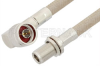 N Male Right Angle to N Female Bulkhead Cable 36 Inch Length Using RG225 Coax -- PE34221-36 -Image