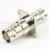 4 Hole Flange BNC Female (Jack) to BNC Female (Jack) Adapter, Nickel Plated Brass Body, 50 Ohm impedance, 1.35 VSWR -- SM3413 - Image