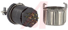 connector,mini hex,male plug w/locksleeve&hood w/cable clamp,solder,7 pin cont -- 70144726