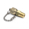 """1/8"""" male NPT x male Quick-test, with check-valve, with cap and chain, brass -- QTFT-1MB1 -- View Larger Image"""