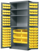 Akro-Mils 1500 lb Gray Yellow Powder Coated Steel 18 ga Non-Stackable Bin Cabinet - 24 in Overall Length - 36 in Width - 78 in Height - 48 Drawer - 48 Bins - Lockable - AC3624Y3AS -- AC3624Y3AS - Image