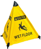 Brady Polyester Triangle Yellow Fall Prevention Sign x 18 in Height - TEXT: CAUTION WET FLOOR - 47372 -- 754476-47372