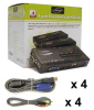 Linkskey 4-port USB Audio & Mic KVM Switch w/ 4 sets of 6ft 3in1 cables -- LKU-S04ASK - Image