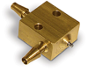 """PurgeX Spray Nozzle, Brass, Barbed Fittings for 1/8"""" ID Tubing, (1) Liquid Inlet, (1) Air Inlet -- B2720-2"""