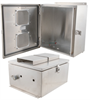 14x12x07 Stainless Steel Weatherproof Outdoor IP24 NEMA 3R Enclosure, Modified Base Vented Lid -- NBSS141207-03V -Image