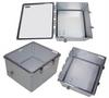 18x16x10 Polycarbonate Weatherproof NEMA 4X Enclosure, 120VAC Mount Plate Clear Lid DKGY -- NBWPC181610-100 -Image