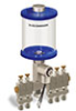 """Blue Color Key, Clear View Multiple Feed Electro Lubricator, 1 pt Acrylic Reservoir, 5 Feeds, 1/4"""" OD Tube Outlets, 120V/60Hz -- B5162-016AB0512061BW -Image"""