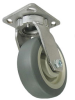 Stainless Swivel Caster - Gray Soft Rubber Wheel - Model G15 -- SS-G15RF5x2-S