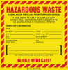 Brady B-7569 Black / Red on Yellow Square Vinyl Health, Sanitation & Waste Label - 6 in Width - 6 in Height - Printed Text = HAZARDOUS WASTE - FEDERAL LAW PROHIBITS IMPROPER DISPOSAL - NEW JERSEY SPEC -- 754473-70650
