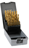 Jobber Drill Bit Set: HSS, TiN coated, sizes 1/16 to 1/2 inch, 29-pc -- 250851TRO -- View Larger Image