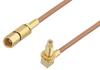 SSMC Plug to SSMC Jack Right Angle Bulkhead Cable 72 Inch Length Using RG178 Coax -- PE3C4459-72 -Image