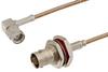 SMA Male Right Angle to BNC Female Bulkhead Cable 24 Inch Length Using RG316 Coax -- PE3681-24 -Image