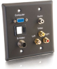 Double Gang HD15 VGA + 3.5mm + S-Video + RCA Audio/Video + Keystone Wall Plate - Black -- 2225-40965-ADT - Image