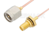 SMA Male to SMA Female Bulkhead Cable 6 Inch Length Using PE-047SR Coax -- PE3531-6 -Image