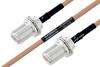 MIL-DTL-17 N Female Bulkhead to N Female Bulkhead Cable 24 Inch Length Using M17/128-RG400 Coax -- PE3M0069-24 -Image