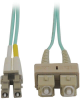 10Gb Duplex Multimode 50/125 OM3 LSZH Fiber Patch Cable (LC/SC) - Aqua, 1M (3-ft.) -- N816-01M - Image