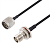 N Male to TNC Female Bulkhead Cable Assembly using LC141TBJ Coax, 1.5 FT -- LCCA30513-FT1.5 -Image
