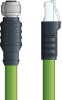 LAPP ETHERLINE® Ethernet Extension Cordset: 4 Pair CAT6A - 8 position female M12 straight connector to 8-wire RJ45 shielded connector - Green Polyurethane (PUR) - C6A009S01 - 1m -- OLFC6A009S01 -Image