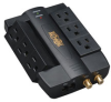 6 Rotatable Outlets, Direct Plug-in, 1200 Joules, 1-line Gold Coaxial 1-line Tel/modem Protection - Surge Suppressor -- HTSWIVEL6