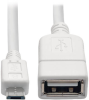 Micro USB to USB OTG Host Adapter Cable, 5-Pin USB Micro-B to USB-A (M/F), White, 6 in. -- U052-06N-WH - Image