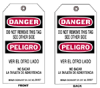 Accident Prevention Tags (B-851; Red/Black on White; DANGER / PELIGRO; 10 Nylon ties) -- 754476-86581
