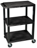 3 Shelf Black Utility Cart -- 12774
