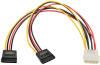 Serial ATA (SATA) Dual Power Adapter Y Cable (LP4 4pin to 2x 15pin SATA), 12-in. -- P946-12N-2P15