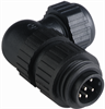 Circular Field Attachable Power Connector (CA Series): Male, angled, 7-pin(6+PE), integrated strain relief, 230 V AC/DC, 10 A -- CA 6 W LS - Image