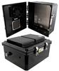 14x12x06 Polycarbonate Weatherproof Outdoor IP24 NEMA 3R Enclosure, 240 VAC Universal Outlet MNT PLT, Mechanical Thermostat Fan Black -- NBBPC141206-E0F -Image