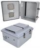 14x12x06 Polycarbonate Weatherproof NEMA 3R Enclosure,Modified Base DIN Rail Mount Vented Dark Gray -- NBPC141206-00VDR -Image