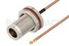 N Female Bulkhead to UMCX 2.5 Plug Cable 12 Inch Length Using RG178-DS Coax, RoHS -- PE3CA1012-12 -Image