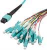 MPO w/o pins to LC fan-out, 0.9mm diameter, 24 fiber, OM3 50/125um Multimode, OFNR Jacket, Aqua, 10 meter -- MPF24OM3-09LCR-10 -Image