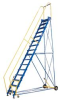 Steel Rolling Warehouse Ladders: Grip Strut Steps -- LAD-10-10-G - Image