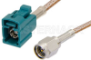 SMA Male to Water Blue FAKRA Jack Cable 24 Inch Length Using RG316 Coax -- PE39348Z-24 -Image