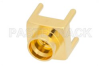 SMP Male Limited Detent Connector Solder Attachment Thru Hole PCB, Square Body, Up To 8 GHz -- PE44776 -Image
